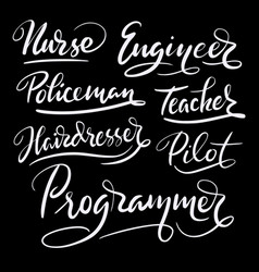 programmer and engineer hand written typography vector image vector image