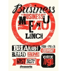 Restaurant business menu typographic design vector image vector image