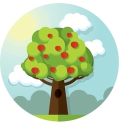 Round picture tree apples apple among the vector