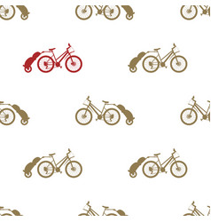 Seamless pattern bike trailer vector