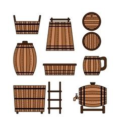 Set barrel mug wooden tub and other barrel vector