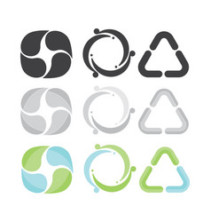 set of 3 recycle icons gray green and blue vector image vector image