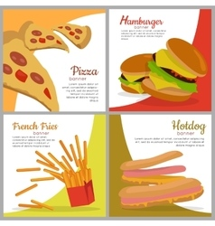 Set of banners with unhealthy food junk food vector