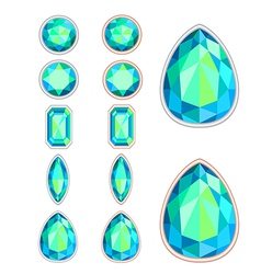 set of five forms of green gemstone vector image