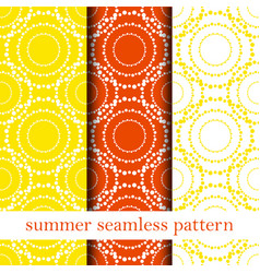 Set of orange abstract seamless pattern vector