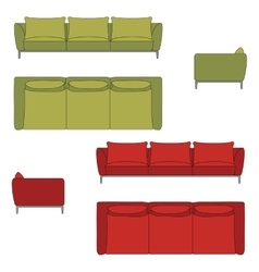 Sofa set flat vector
