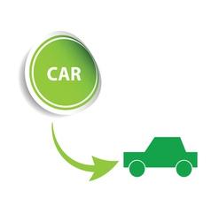 sticker car green vector image vector image