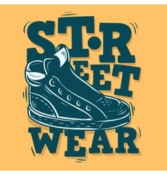 Street Wear Label Design With A Sneaker vector image