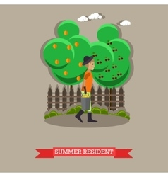 Summer resident in flat style vector