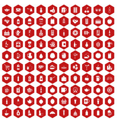 100 beverage icons hexagon red vector