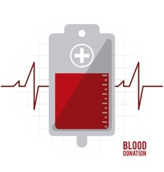 Blood bag pulse donation icon graphic vector