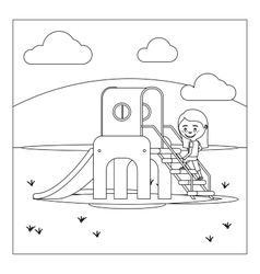 Kid on playground coloring book design vector