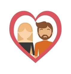 Couple love frame heart relationship vector