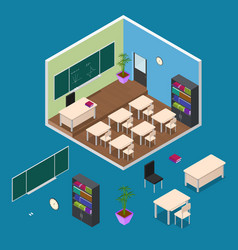 Interior classroom with furniture element vector