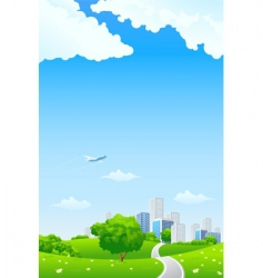 green landscape with city vector image