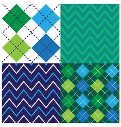 Argyle design set vector