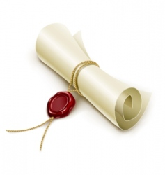 Scroll with wax seal vector