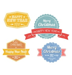 Set of colorful vintage retro christmas labels vector