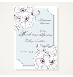 Wedding shover with outline poppies vector