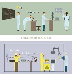 Laboratory research by group of scientists vector