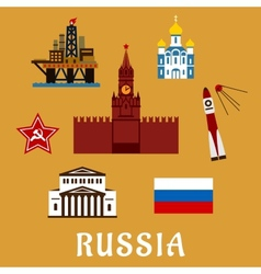Russian flat travel icons and symbols vector