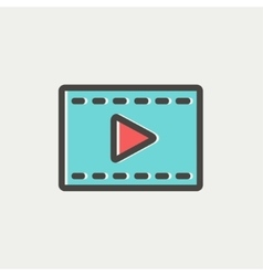 Film strip with arrow thin line icon vector