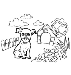 Coloring book with dogs vector