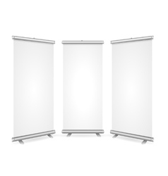 Blank roll up banner 3 display view template vector