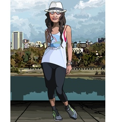 Cartoon teen girl on the city waterfront vector