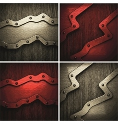 Pollished metal on wooden background set vector