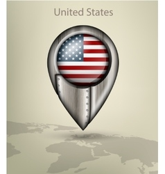 Map marker steel with glare and shadows united vector