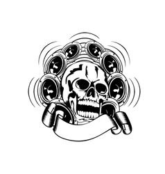 Skull and loudspeakers vector
