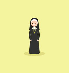 a catholic christian nun wearing black and white vector image