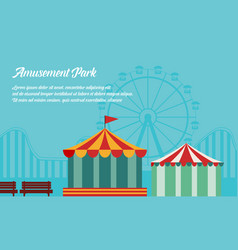 amusement park background flat vector image vector image