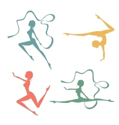 Beautiful silhouettes of gymnastic women vector