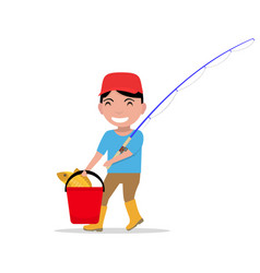 cartoon boy going fishing rod bucket fish vector image