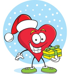 Cartoon Heart with a Gift vector image vector image