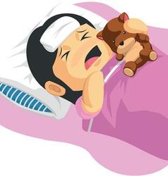 Cartoon of Little Girl Having A Fever vector image