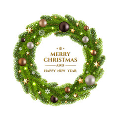 christmas wreath fur tree vector image vector image