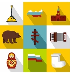 Country russia icons set flat style vector