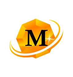 diamond swoosh initial m vector image