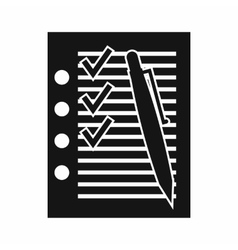 Document with plan and pen icon simple style vector