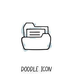 Doodle folder icon with paper vector image