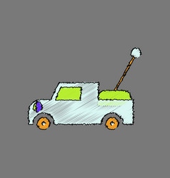 Flat shading style icon kids truck vector