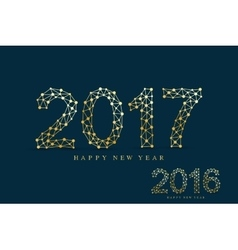 Golden text design christmas and happy new year vector
