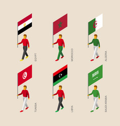 Isometric people with flags of middle east vector