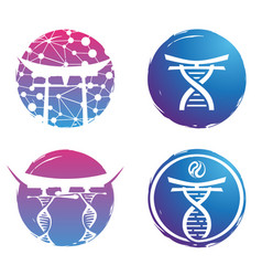 logo design dna colorful on white bac vector image vector image