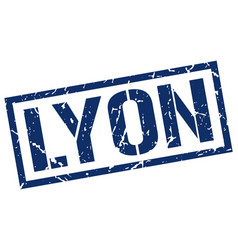 Lyon blue square stamp vector
