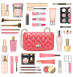makeup cosmetics with pink handbag vector image vector image