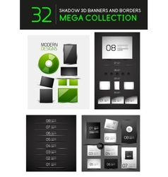 Mega set of creative 3d banners dividers vector image vector image